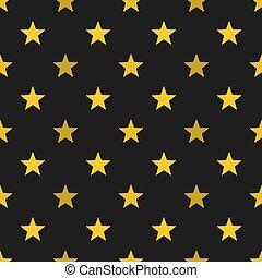 Gold stars on black background seamless pattern.