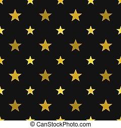Gold stars on black background seamless pattern
