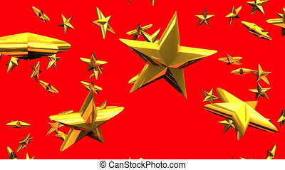 Gold stars on red background