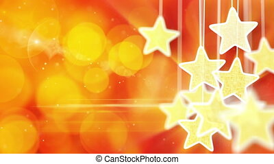 gold stars on red bokeh lights loop