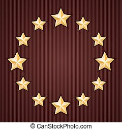 Gold stars on red textured background