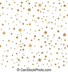 Gold stars on white background seamless pattern.