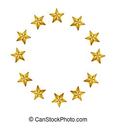 gold stars round frame