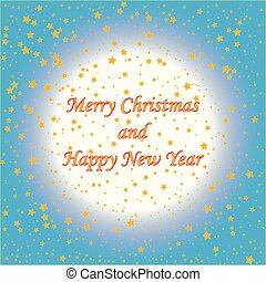 Gold stars with text on blue background (Christmas card)