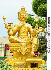 Gold statue of Brahma ,statuette of hindu god
