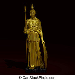 Gold statue of goddess AthenaImage contains a Clipping Path...