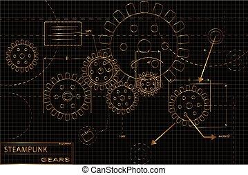 Gold Steampunk Gears