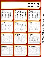 Gold sticker calendar 2013