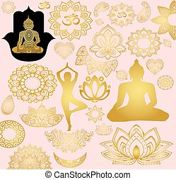 Gold stickers Buddhism. Mantra, meditation and relaxation