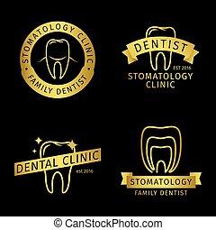 Gold stomatology, dental clinic line vector logo templates on black background