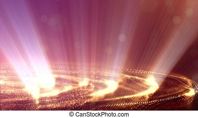 gold strings, microcosm or space. Seamless footage with beautiful light effects. 3d loop abstract animation of glow particles with depth of field, bokeh and light rays as vj loop. 2