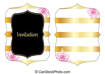 Gold stripe wedding invitation