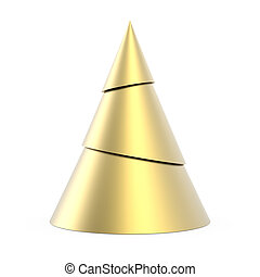 Gold stylized Christmas tree isolated on white background
