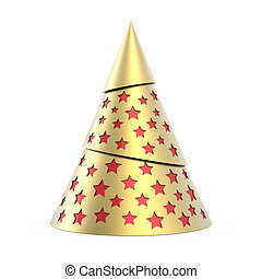 Gold stylized Christmas tree with red stars