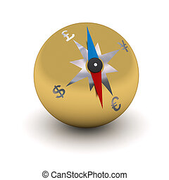 gold stylized compass indicating the direction of currencies