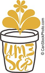 Gold SUMMER inscription with a flower in a pot. The concept of summer growth. Plant