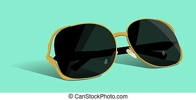 Gold sunglasses. Vector illustration.