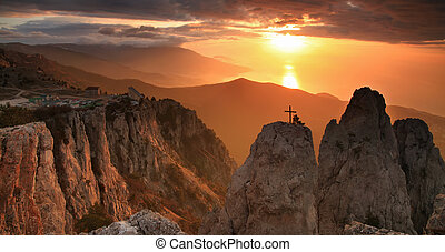 Gold sunrise in the mountains
