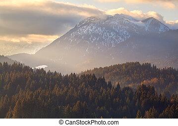 gold sunset over autumn Alps