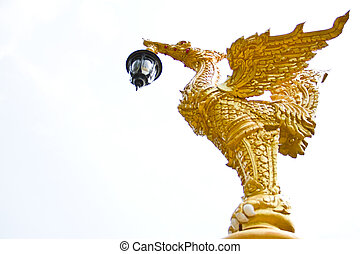 gold swan statue