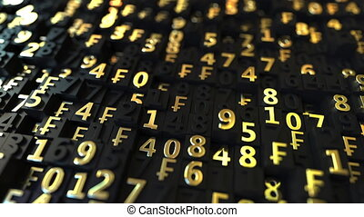 Gold Swiss Franc CHF symbols and numbers on black plates,...