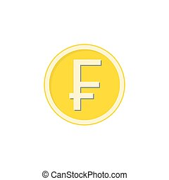 Gold Swiss franc coin flat icon, finance business
