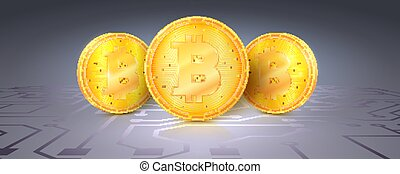 Gold symbols cryptocurrencies with bitcoin mark on digital circuit background. Set of icons of crypto currency. Vector 3d illustration.