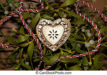 gold szív, képben látható, egy, háttér, közül, fagyöngy