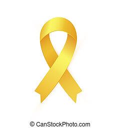 gold szalag, fordíts, gyermekkor, rák, tudatosság, month., sárga szalag