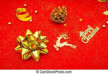 gold szalag, noha, íj, képben látható, piros háttér, .