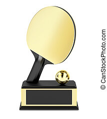 Gold table tennis trophy