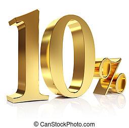 Gold ten percent discount symbol - 3D golden Render percent...