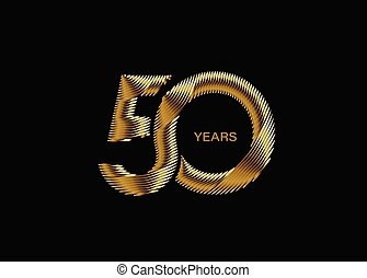 Gold Text 50th Years Anniversary Celebration Vector Design.