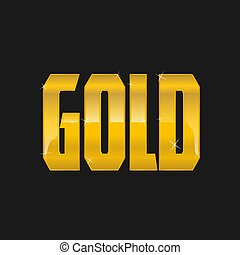 GOLD text logo on a black background golden shiny icon isolated vector illustration