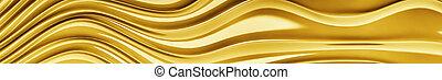 Gold texture of a fabric satin. Gorizontal panoramic view for kithen panel skinali. 3d rendering