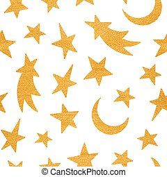 Gold textured cosmic seamless pattern of the star, moon and comet on white background. Design element for background, textile, paper packaging, wrapping paper and other. Vector illustration.