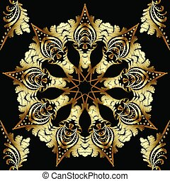 Gold textured embroidery floral mandala seamless patterm.