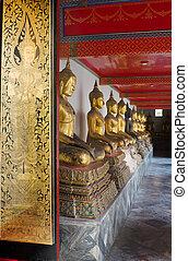Gold thai art paint on wood door