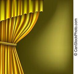 Gold theater curtain on the dark
