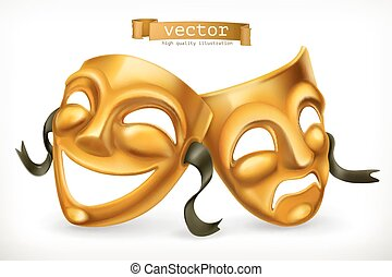 Gold theatrical masks. Comedy and tragedy, 3d vector icon
