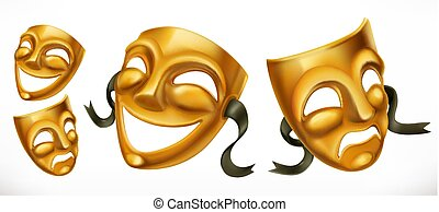 Gold theatrical masks. Comedy and tragedy 3d vector icon