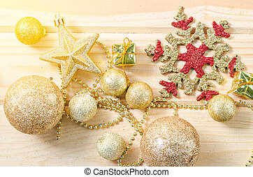 Gold theme color christmas decorations.