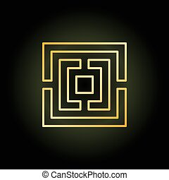 Gold thin line labyrinth icon