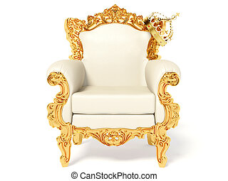 throne - gold throne and crown on white