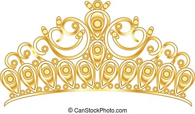 Gold tiara crown women's wedding with stones