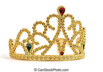 Gold Tiara - Gold tiara studded with jewels and diamonds.