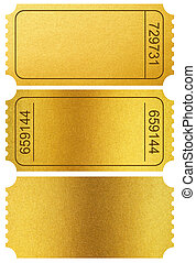 Gold tickets stubs isolated on white with clipping path...
