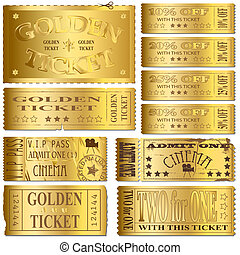Gold Tickets - Gold cinema and sale ticket vectors