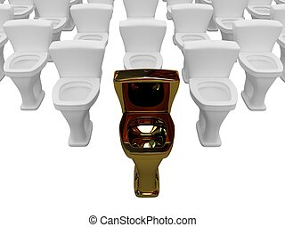 Gold toilet bowl - The gold toilet bowl is in the lead