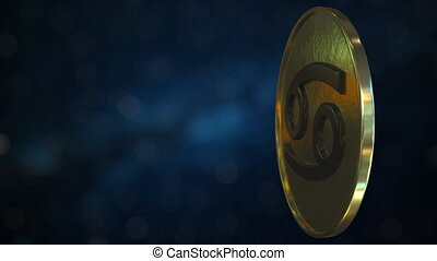 Gold token with Zodiac sign. 3D